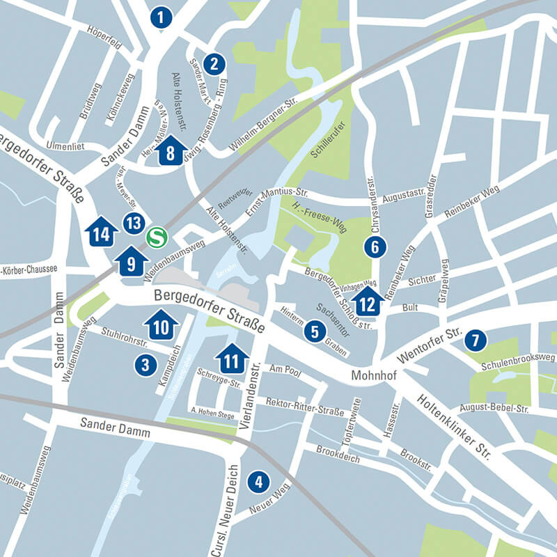 Bergedorf Parkhaus und Parkplätze